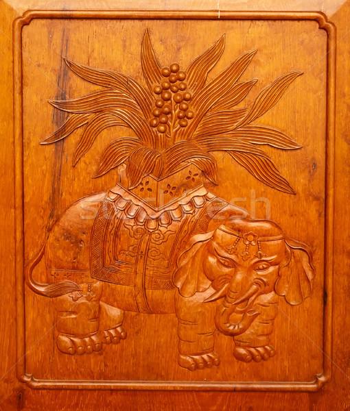 Wooden Elephant Panel Door Jing An Temple Shanghai China Stock photo © billperry