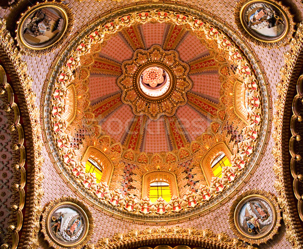 Guadalupita Church Interior Pink and Gold Dome Morelia Mexico Stock photo © billperry