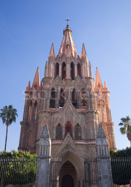 Pink Parroquia Archangel Church San Miguel Mexico Daytime Stock photo © billperry