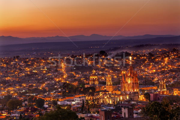 San Miguel de Allende Mexico Miramar Overlook Sunset Parroquia A Stock photo © billperry