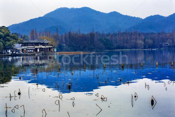 Oeste lago reflexión China azul montana Foto stock © billperry