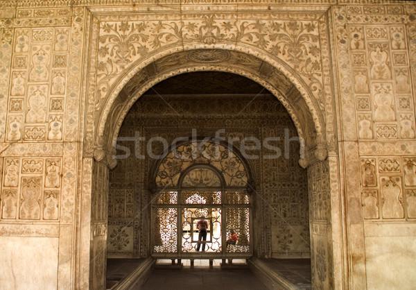Disegni interni rosso fort Delhi India Foto d'archivio © billperry