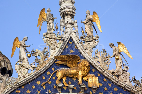 Saint Marks Basilica Winged Golden Lion Statues Venice Italy Stock photo © billperry