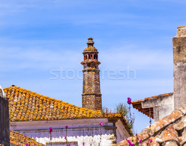 Old Tower Flowers Orange Roofs Obidos Portugal Stock photo © billperry