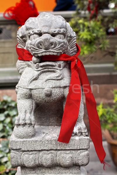 Stone Dragon Red Ribbons Jade Buddha Temple Jufo Si Shanghai Chi Stock photo © billperry