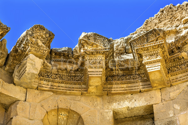 Decorations Nymphaeum Public Fountain Ancient Roman City Jerash  Stock photo © billperry