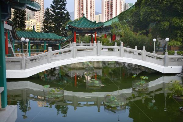 Chinese Water Garden Bridge Wong Tai Sin Taoist Temple Kowloon H Stock photo © billperry