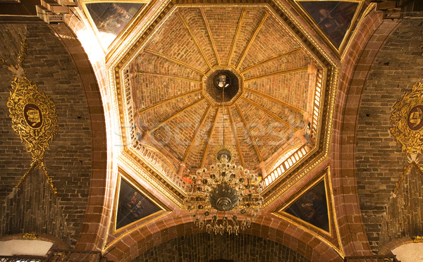Orange Brick Dome Parroquia Archangel Church San Miguel Mexico Stock photo © billperry