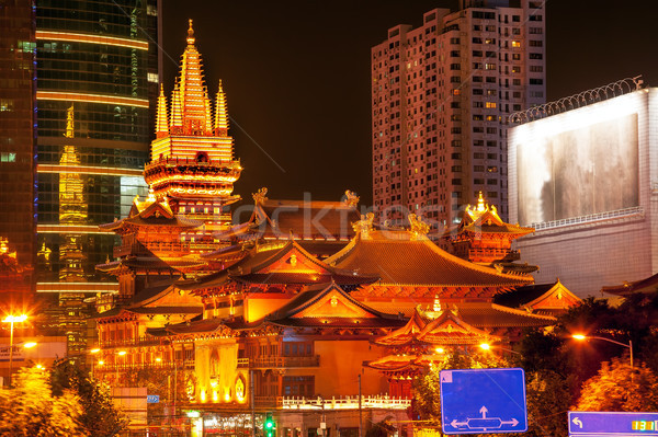 Golden Jing An Temple Park Nanjing Street Shanghai China at Nigh Stock photo © billperry