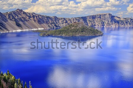 Wizard Island Crater Lake Reflection Blue Pink Reflection Oregon Stock photo © billperry