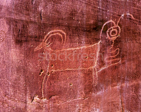 Native American Indian Fremont Sheep Goat Petroglyph Sandstone M Stock photo © billperry