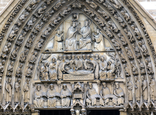 Biblical Statues Virgin Door Portal Notre Dame Cathedral Paris F Stock photo © billperry