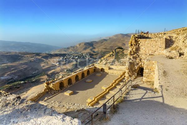 Anciens château vue arabe forteresse Jordanie Photo stock © billperry