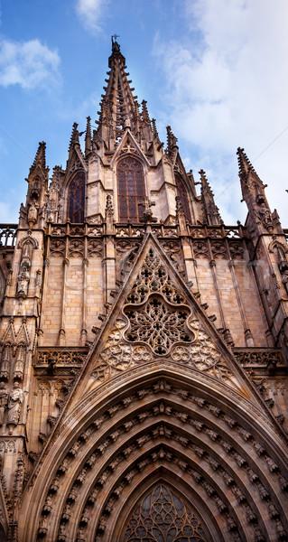 Stock photo: Gothic Catholic Cathedral Facade Steeple Barcelona Catalonia Spa