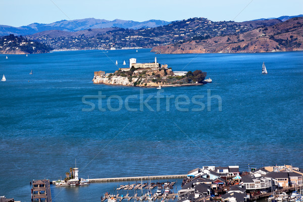 Fisherman's Wharf Alcatraz Island Sail Boats San Francisco Calif Stock photo © billperry