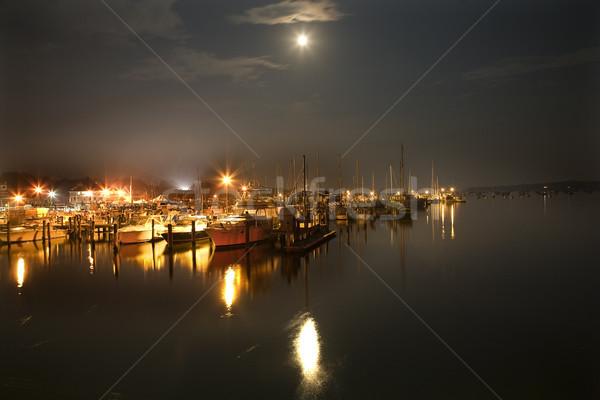 Stockfoto: Haven · boten · jacht · club · maan