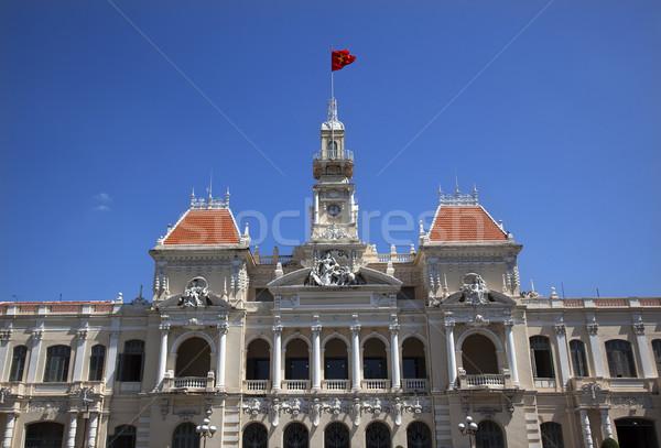 Pueblos comité edificio Vietnam ciudad bandera Foto stock © billperry