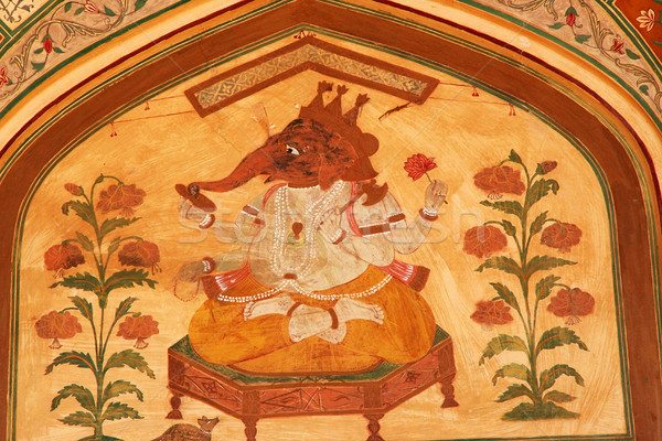 Lord Ganesh Hindu God Mural Jaipur India Stock photo © billperry