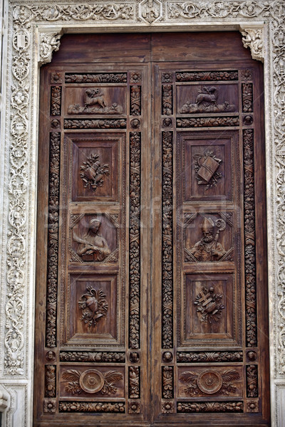 Carved Wooden Door Basilica Santa Croce Cathedral Florence Italy Stock photo © billperry