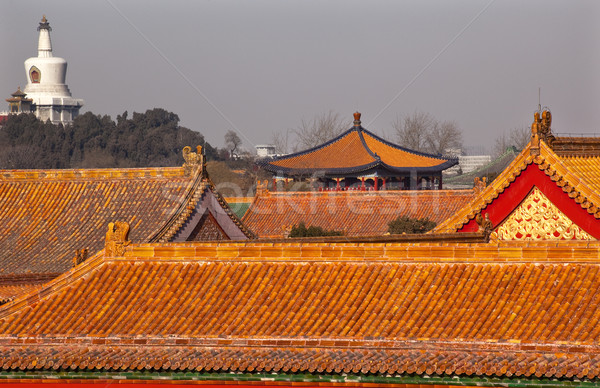 Beihai Stupa Blue Pavilion Forbidden City Yellow Roofs Gugong Pa Stock photo © billperry