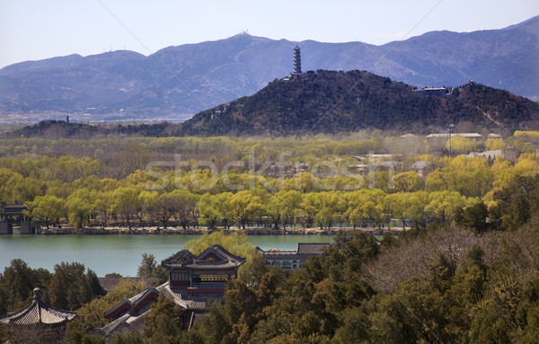 Yu Feng Pagoda From Lonevity Hill Summer Palace Willows Beijing Stock photo © billperry