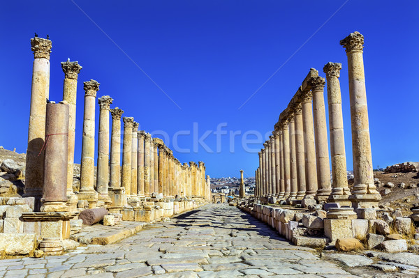 Corinthian Columns Ancient Roman Road City Jerash Jordan Stock photo © billperry