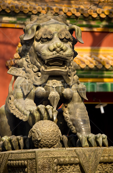 Dragon Bronze Statue Yonghe Gong Buddhist Temple Beijing China Stock photo © billperry