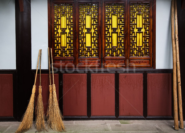 Straw Brooms Wall Windows Baoguang Si Shining Treasure Buddhist Stock photo © billperry