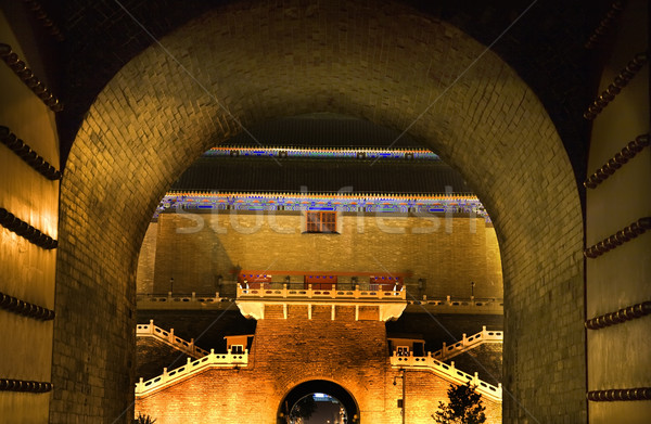 Poort vierkante Beijing China nacht hemel Stockfoto © billperry