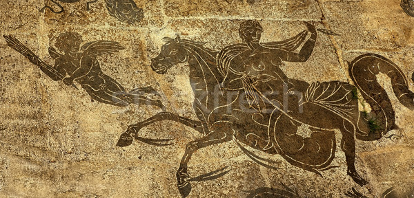 Ancient Roman Woman on Horse Cupid  Floors Baths of Neptune Osti Stock photo © billperry