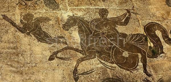 Ancient Roman Woman on Horse Cupid  Floors Baths of Neptune Osti Stock photo © billperry