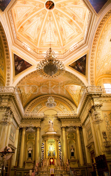 Golden Altar Pink Dome Basilica Guanajuato Mexico Stock photo © billperry