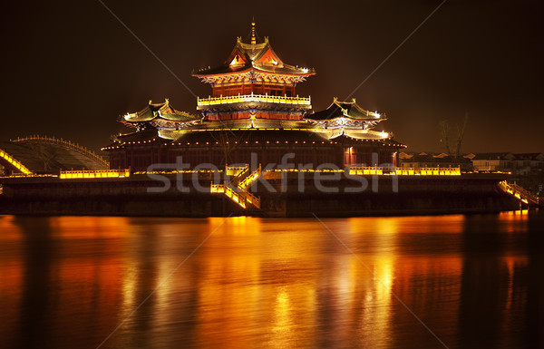 Ancient Temple Night Reflection Bridge Jinming Lake Kaifeng Chin Stock photo © billperry