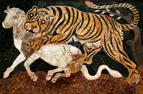 Roman Mosaic Tiger Hunting Capitoline Museum Rome Italy Stock photo © billperry