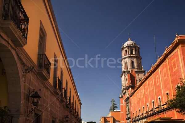 Orange Adobe Wall San Francisco Church Queretaro Mexico Stock photo © billperry