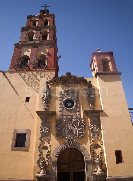 Santo Domingo Church Front Steeple Bells Queretaro Mexico Stock photo © billperry