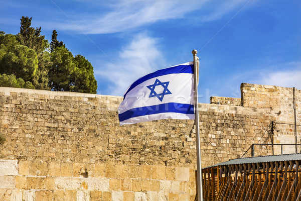 Israeli Flag Western 'Wailing' Wall Jerusalem Israel Stock photo © billperry