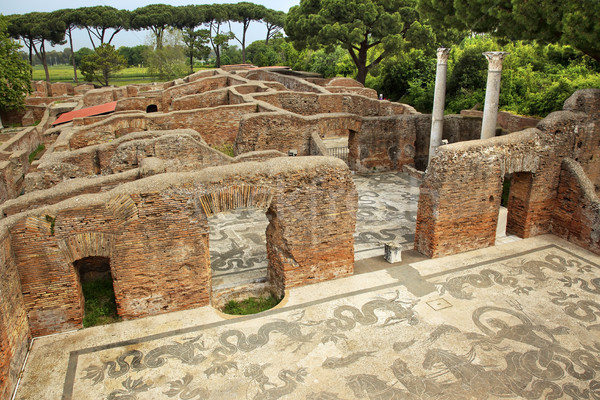 Ancient Roman Baths of Neptune Mosaic Floors Ostia Antica Rome I Stock photo © billperry