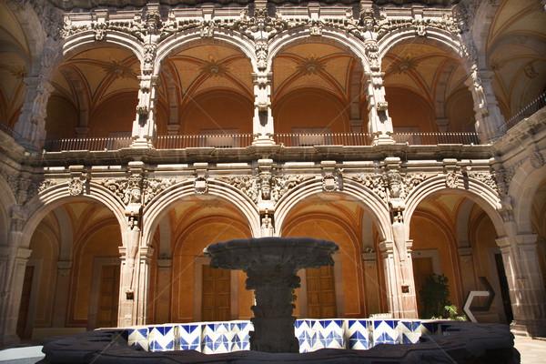 Stock fotó: Művészet · múzeum · szökőkút · narancs · Mexikó · templom