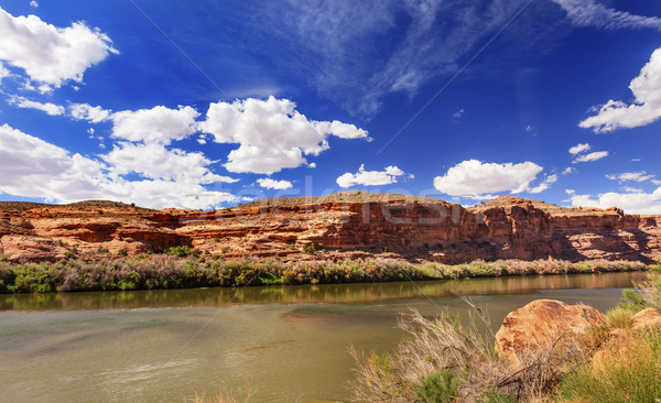Colorado folyó kő kanyon tükröződés zöld fű Stock fotó © billperry