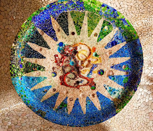 Antoni Gaudi Ceramic Mosaic Design Guell Park Barcelona Cataloni Stock photo © billperry