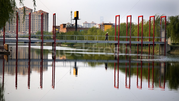 Red Bridge Reflections Shanghai Suburbs  Stock photo © billperry