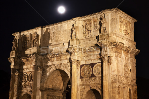 Constantine Arch Moon Close Rome Italy Stock photo © billperry