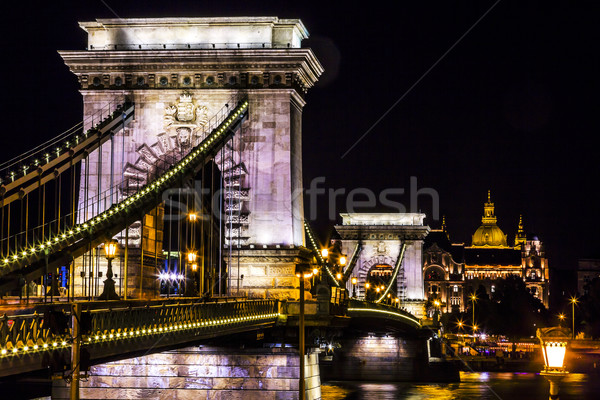 Chain Bridge Danube River Saint Stephens Cathedral Budapest Hung Stock photo © billperry