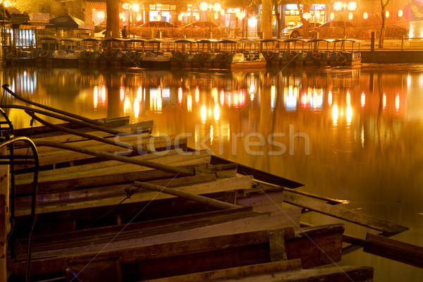 Wooden Boats Houhai Lake Beijing China at Night Stock photo © billperry