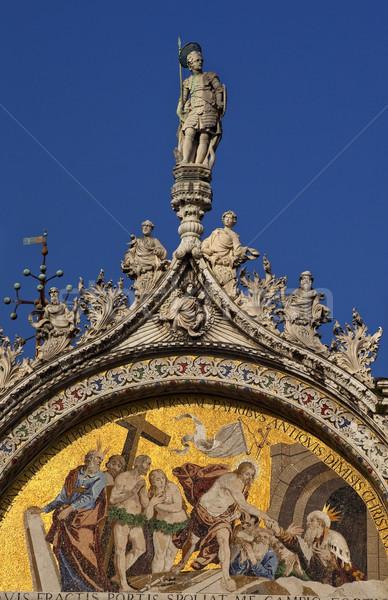 Saint Marks Basilica Christ Rising Mosaic Statue Venice Italy Stock photo © billperry