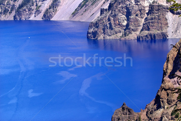 Blue Crater Lake Rim White Boat Oregon Stock photo © billperry