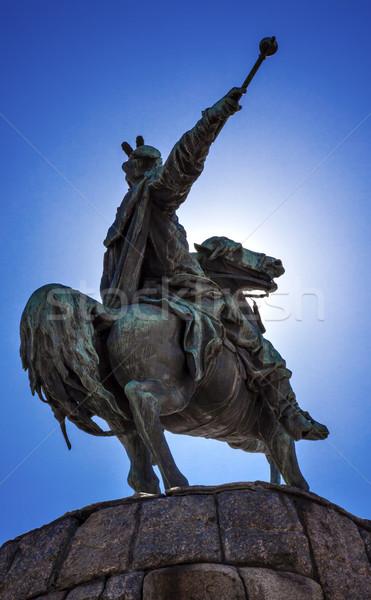Stockfoto: Standbeeld · vierkante · Oekraïne · beeldhouwer · paard