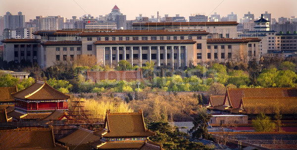 Great Hall of the People with Forbidden City in Foreground Beiji Stock photo © billperry