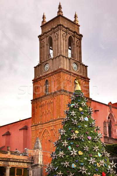 öreg templomtorony templom karácsonyfa épület ablak Stock fotó © billperry